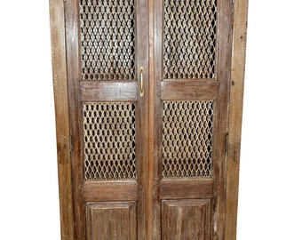 Antique Brown Armoire Wardrobe With Open Iron Jali Floral Design Storage Cabinet Indian Furniture Spanish Style