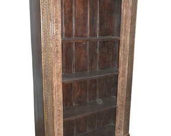 Antique Rustic Bookcase Hand Carved Book Shelf Traditional Carvings Spanish Moroccan Mediterranean FREE SHIP Boho Shabby Chic Interiors