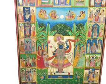 Pichhwai India Traditional Krishna Nathdwara Colorful Painting Wall Panel Art, Music of Life, The Door To Heart of Krishna
