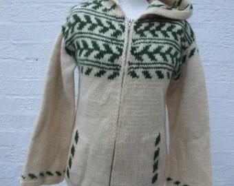 Zip up cardigan mens Icelandic clothing norwegian clothes knit jacket pure wool top 1990s vintage urban gift nordic teens cardigan with hood