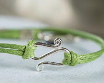 Infinity Green Bracelet, Wax Cord Bracelet, Charm Sterling Bracelet, Silver Friendship Bracelet,  St Patrick's Day Bracelet, Gift for her
