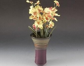 Handmade Stoneware Pottery Flower vase purple and Brown by Mark Hudak