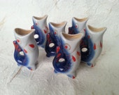 Vintage Shots - Set of 6 Vintage Soviet Porcelain Fish Shot Glasses 30 ml Made in USSR in 1970s