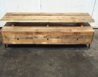 TV Console Table from Reclaimed Hardwood