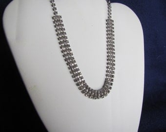 vintage 3 Strand RHINESTONE NECKLACE :  Jewelry