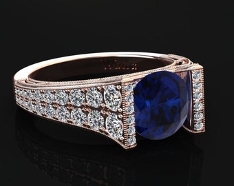 Blue Sapphire Engagement Ring Blue Sapphire Ring 14k or 18k Rose Gold Matching Wedding Band Available W24BUR