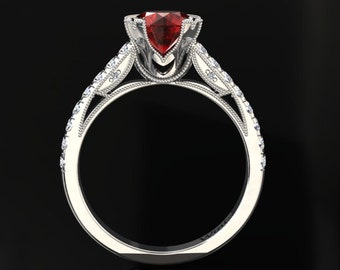 Ruby Engagement Ring Ruby Ring 14k or 18k White Gold Matching Wedding Band Available W11RUBYW