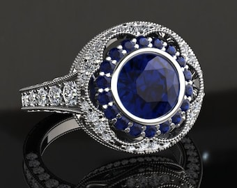 Blue Sapphire Engagement Ring Blue Sapphire Ring 14k or 18k White Gold W33BUW