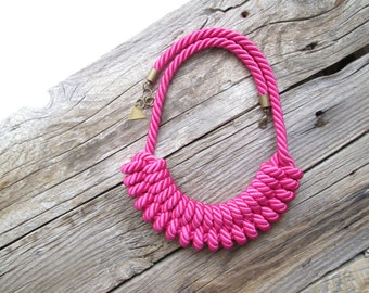 Pink Rope necklace Pink Nautical rope necklace