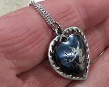 """Vintage 1960s Mekkala Goddess Niello Heart Pendant Sterling 24"""" Sterling Chain"""