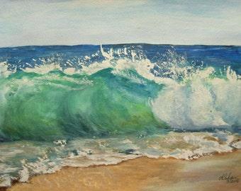 The Wave Original Watercolor Painting,Ocean,Vero Beach,Rough Atlantic Ocean,