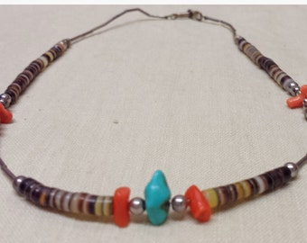 Vintage Southwest Turquoise Nugget and Branch Coral Beaded Necklace Choker