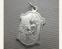 Vintage French Silver Religious Medal of Guardian Angel and Infant Jesus of Prague - pendant jewelry from France
