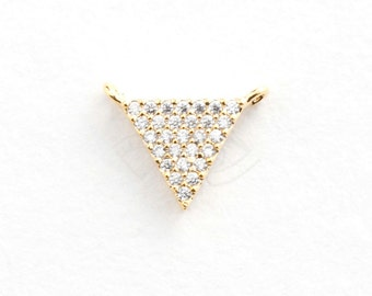 3386031 / Inverted Triangle / 16k Gold Plated Brass with CZ Pendant 12mm x 9mm / 0.5g / 1pcs