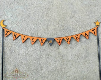 Trick or Treat Halloween Miniature Fairy Garden Banner Sign - Fairy Garden Accessories