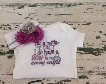 Infant girls monogrammed onesie with matching bow