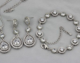 bridal jewelry set earring necklace and bracelet set wedding jewelry set bridal earring