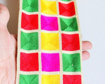Beige Trim With Green, Pink, Red And Yellow Square Pattern Thread Trim, Approx. 10 cm wide - 140316L202