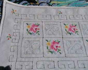 White Rose Cross Stitch Doily Cut works Lace Inlays Table Center French Handmade Sewing Project  #SophieLadyDeparis