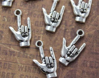 10 Hand Charms Hand Pendants Antiqued Silver Tone 13 x 20 mm