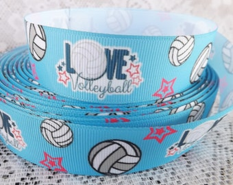 Volleyball ribbon Volleyball grosgrain ribbon 1 inch volleyball ribbon