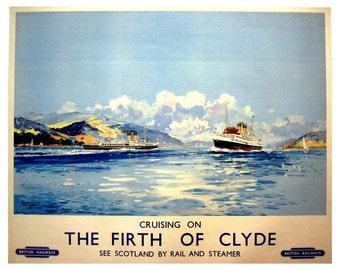 Art Print Scotland Firth of Clyde Travel Poster -  1950s British Railways - Poster Print 8 x 10