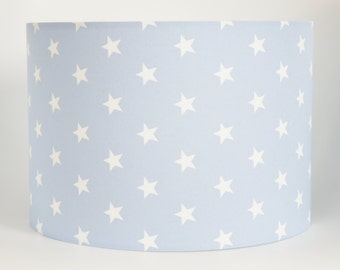 Lampshade Handmade in a baby blue and white triangle fabric 30 cm Drum lampshade