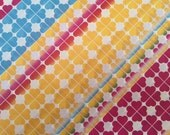 Vintage Gift Wrapping Paper - Geometric Yellow, Blue and Red Clover Stripes - All Occasion - 1 Unused Full Sheet Gift Wrap