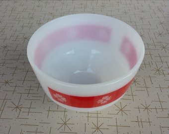 Federal Glass Red Gingham Mixing Bowl Vintage Milk Glass Collectible Bowl Replacement Piece