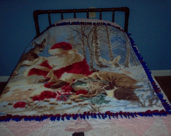 Santa and Forest Friends Tied Throw