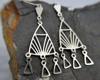 Prairie Style Chandelier Earrings in stainless steel, silver dangle earrings, silver triangle earrings, frank lloyd wright, geometric
