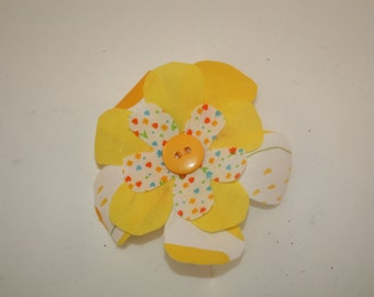 Yellow Fabric Flower Barrette