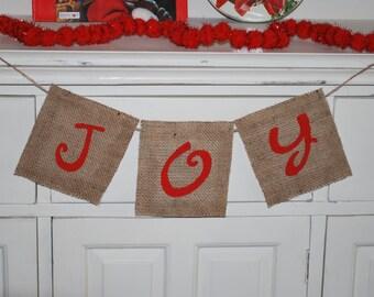 JOY Christmas Holiday Burlap Banner/Bunting