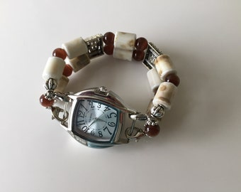 Watch Womens Double Stranded Cream & Brown Beaded Watch Band Set (273)