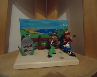 road to london scene style  handmade wooden fairy door large. scene