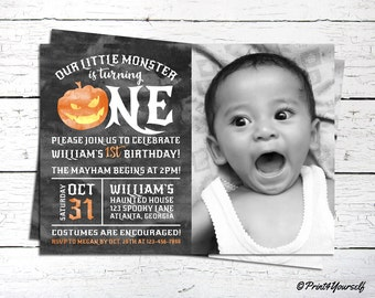 Halloween Birthday Invitation // Personalized Printable Our Little Monster 1st Birthday Photo Invitation // 1st Birthday