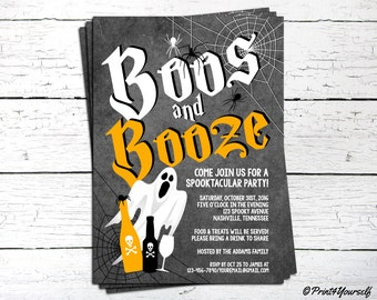 Halloween Invitation // Personalized Printable Boos and Booze Halloween Party Invitation // Halloween Invitation // Halloween
