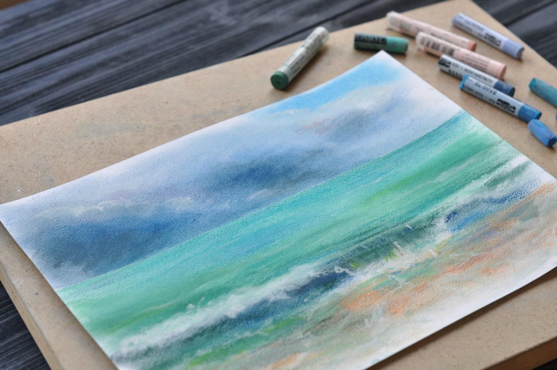 Peinture au pastel sec original art mur de mer d cor par magictwirl - Peinture au pastel sec ...