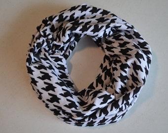 Black Houndstooth Jersey Knit Infinity Scarf