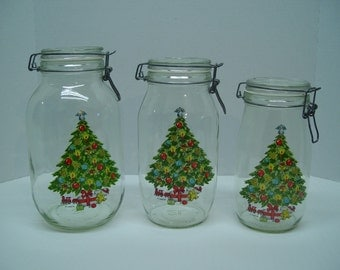 Set of 3 Hermetic Glass Storage Jars, Christmas Canisters, Sabin, Christmas Decor, Kitchen Canisters