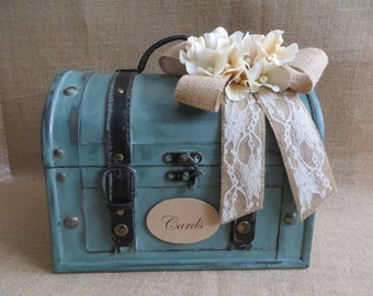 Pick Your Ribbons & Flowers - Rustic Aqua Wedding Trunk, Wedding Card Holder, Rustic Card Box, Money Holder, Money Box, Wedding Suitcase