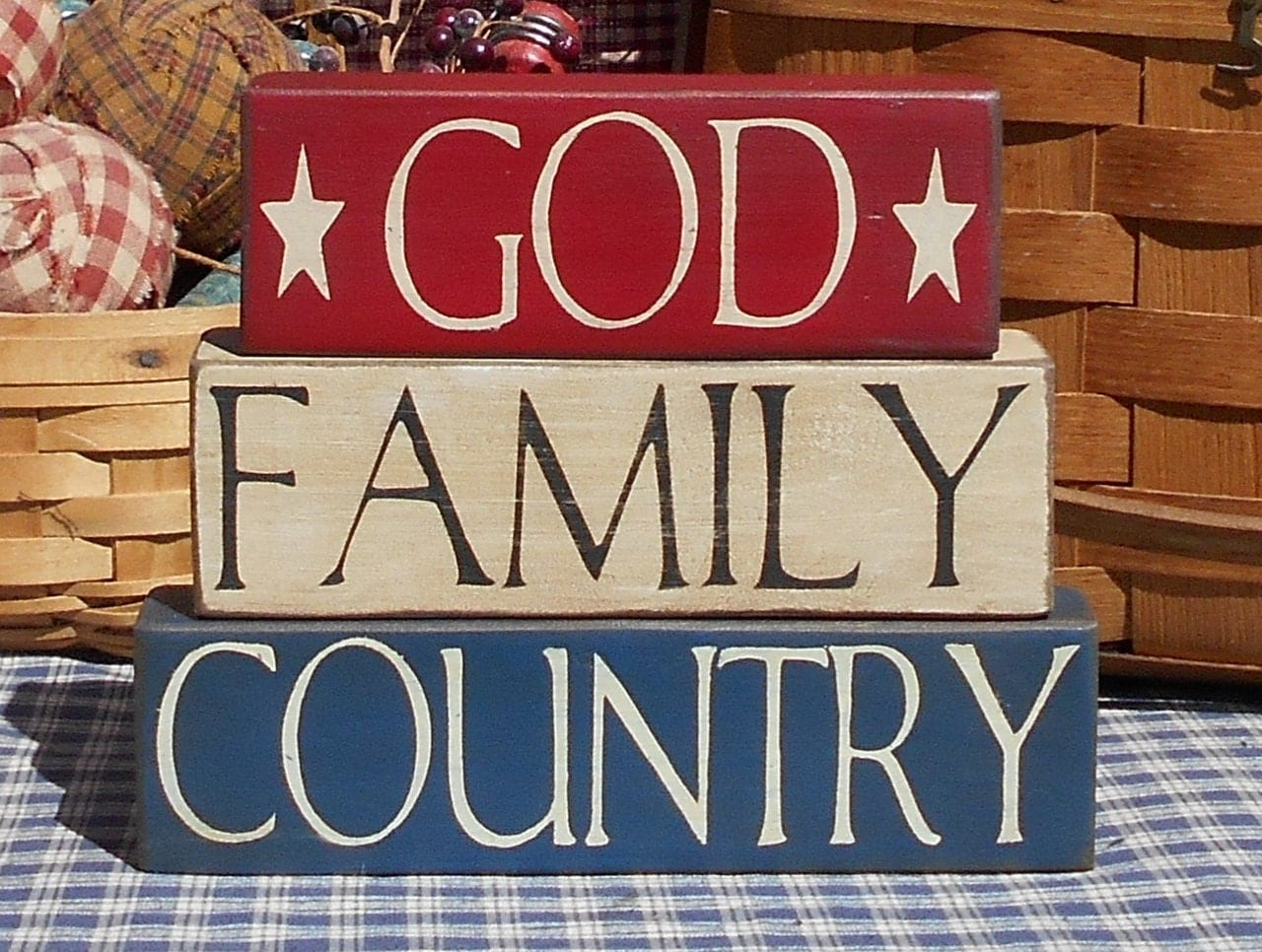 God Family Country primitive stacker blocks sitter choice