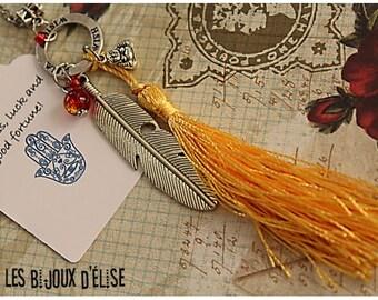 Sale - Wish Ring and Buddha Necklace Yoga Pendant Yellow Tassel