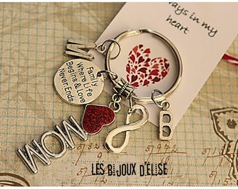 Personalized Mom Keychain Family Where Life Begins & Love Never Ends Keychain Gift