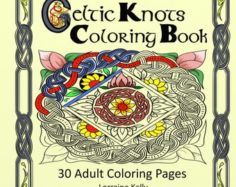 Deluxe Edition Celtic Knots Adult Coloring Book 30 Pages Lozs Art Lorraine Kelly A4, Thick 160gsm Pages Wire Bound for Easy Colouring