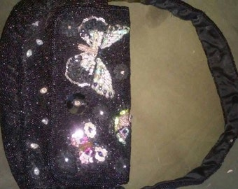 """Vintage Valerie Stevens black totally beaded handbag with sequined butterflies stands5""""tall8.5""""wide1.5""""deep"""