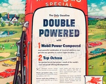 "1954 Mobilgas Gas Station Ad// Small Town America Ad Art // Vintage Gas Stations // Ready to Frame 10"" x 13"