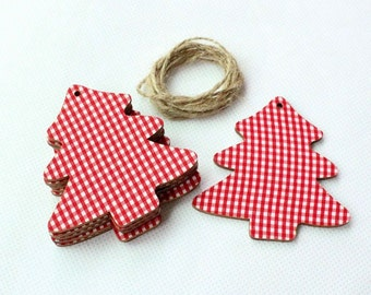 Red Heart Tag Wooden Christmas Gift Wrap Decoration Xmas Tree Hangtag