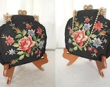 Vintage 1920s Handbag / Needlepoint Flapper Purse / Victorian Edwardian Handbag / Steampunk Purse / 20s Rose Needlepoint Handbag