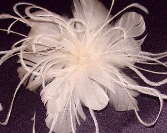 white or ivory ostrich feather bridal fascinator hair clip
